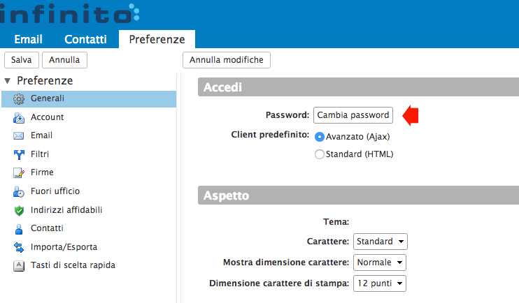 Bottone Cambia password