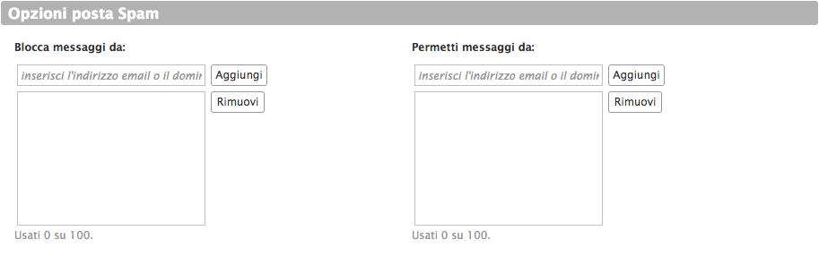 Opzioni posta spam Infinito