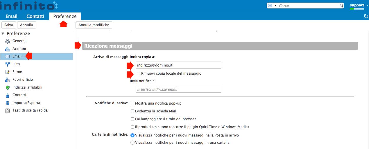 inoltrare messaggi ad un altro indirizzo di posta