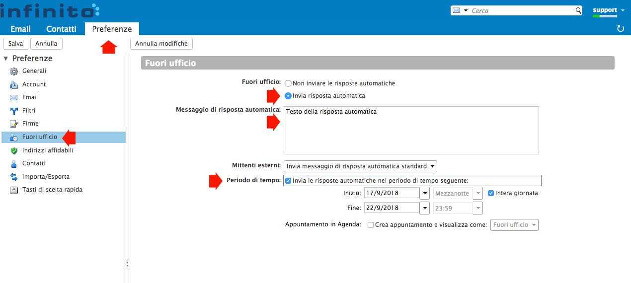 Impostare un messaggio di risposta automatica su webmail di Infinito