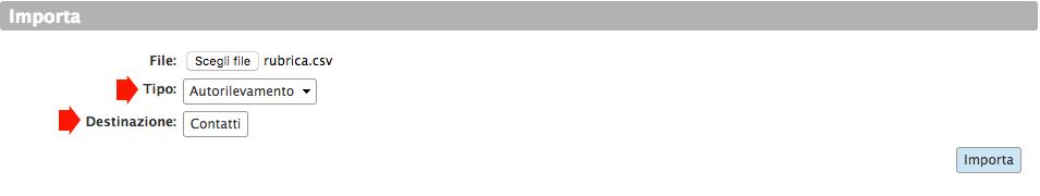Importare Rubrica contatti nella webmail di Infinito