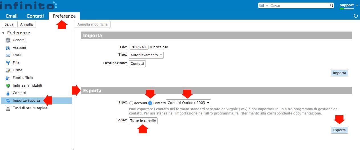 Esportare Rubrica dalla Webmail di Infinito