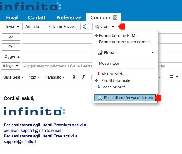 Impostare conferma di lettura su webmail Infinito