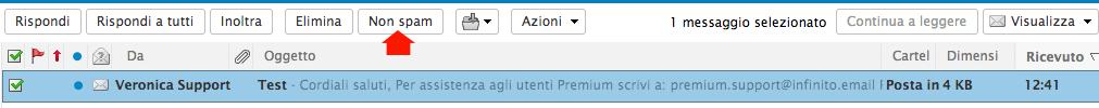 Segnalare email come Non spam webmail di Infinito