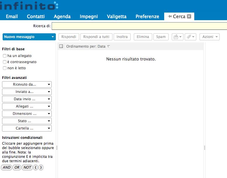 criteri di ricerca nella webmail di Infinito